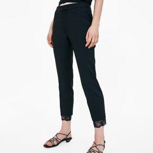 Zara lace trim Black Trousers